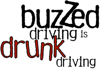 "Image with the text, ""buzzed driving is drunk driving."""