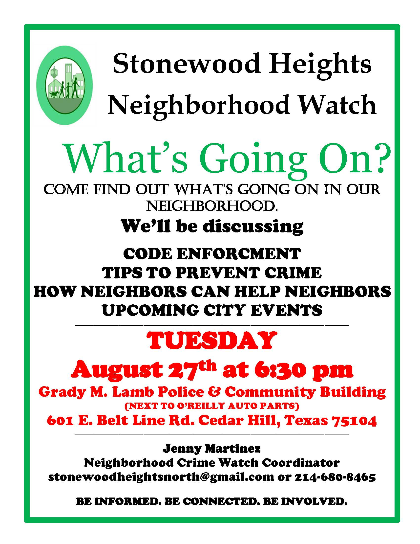 Stonewood Heights Crime Watch  08.27.19